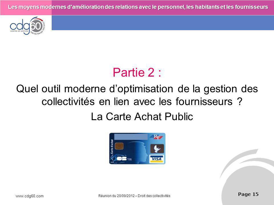 Partie 2 : Quel outil moderne d'optimisation de la gestion des collectivités en lien avec les fournisseurs
