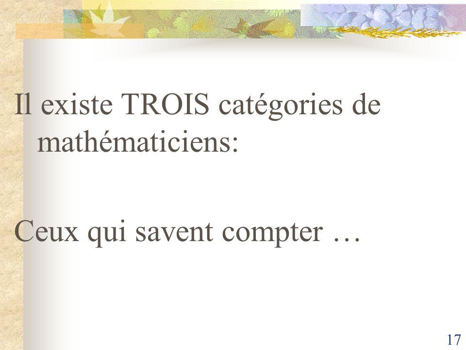 Il existe TROIS catégories de mathématiciens:
