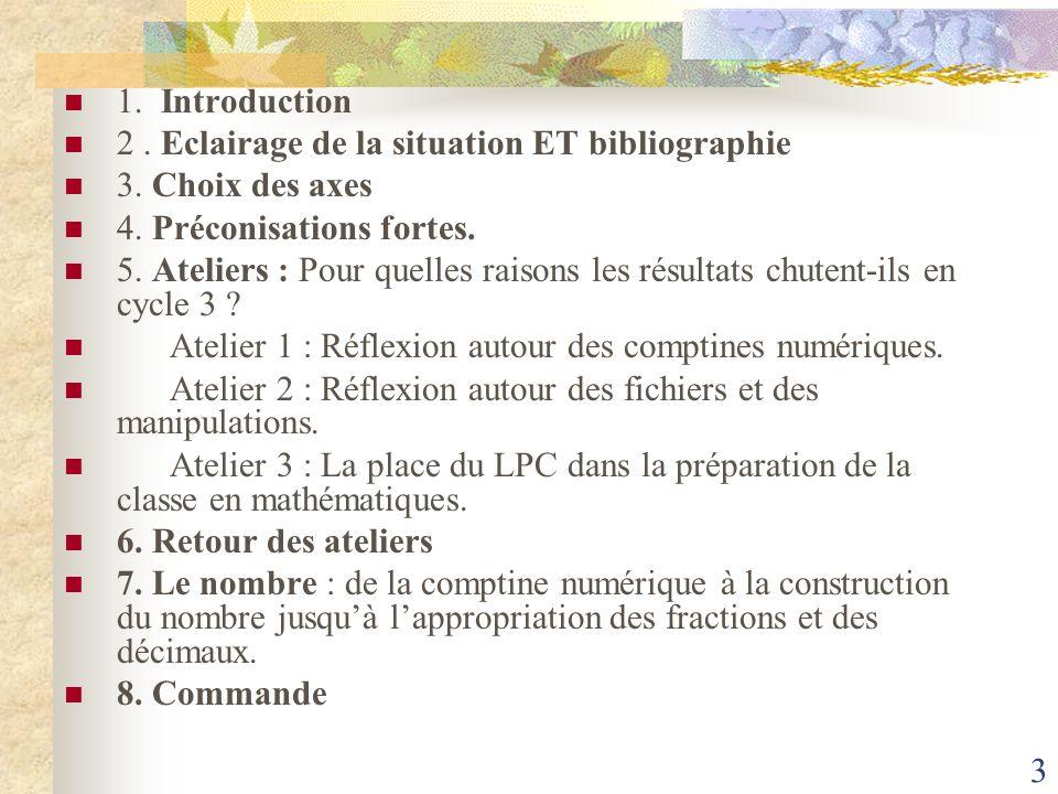 1. Introduction. 2 . Eclairage de la situation ET bibliographie. 3. Choix des axes. 4. Préconisations fortes.