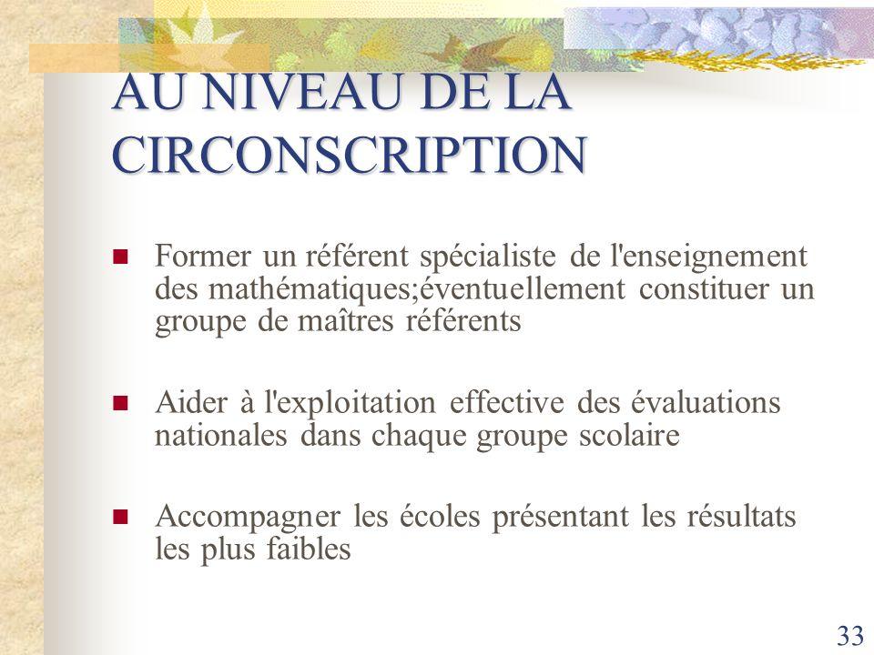AU NIVEAU DE LA CIRCONSCRIPTION