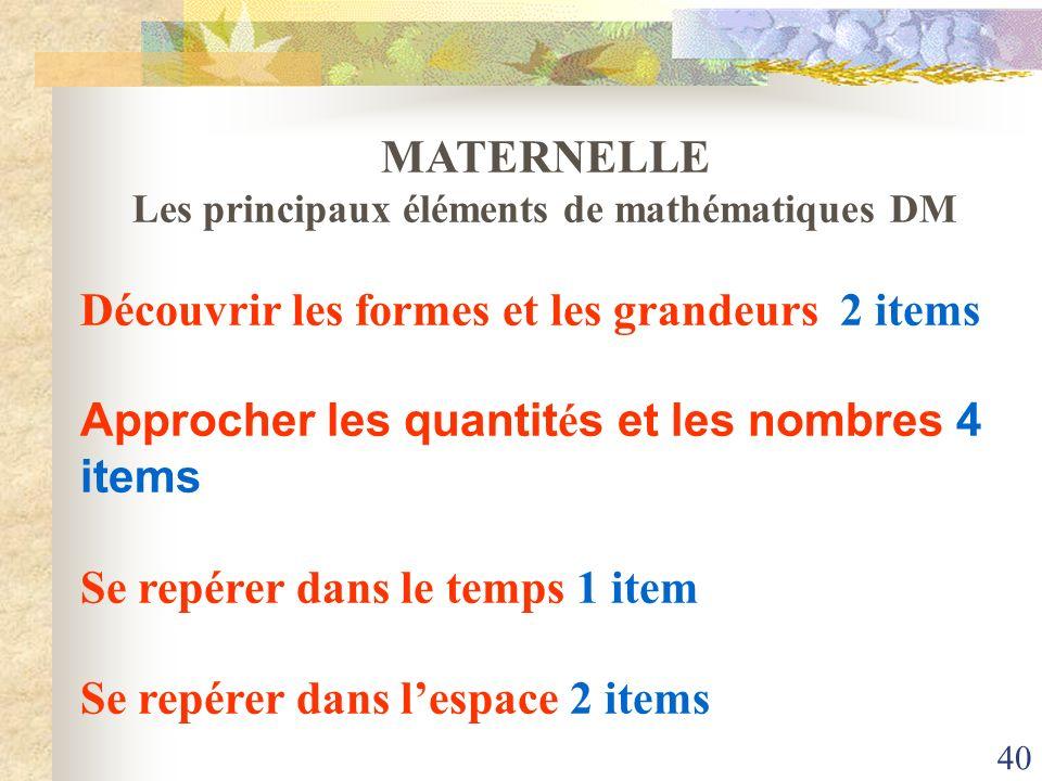 Les principaux éléments de mathématiques DM