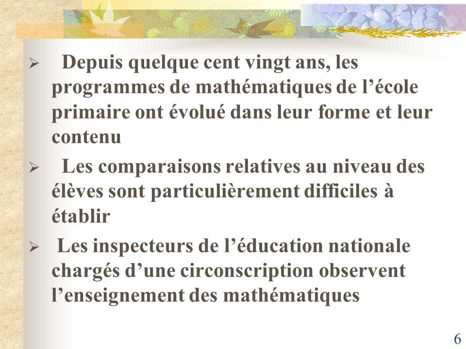 Depuis quelque cent vingt ans, les programmes de mathématiques de l'école primaire ont évolué dans leur forme et leur contenu