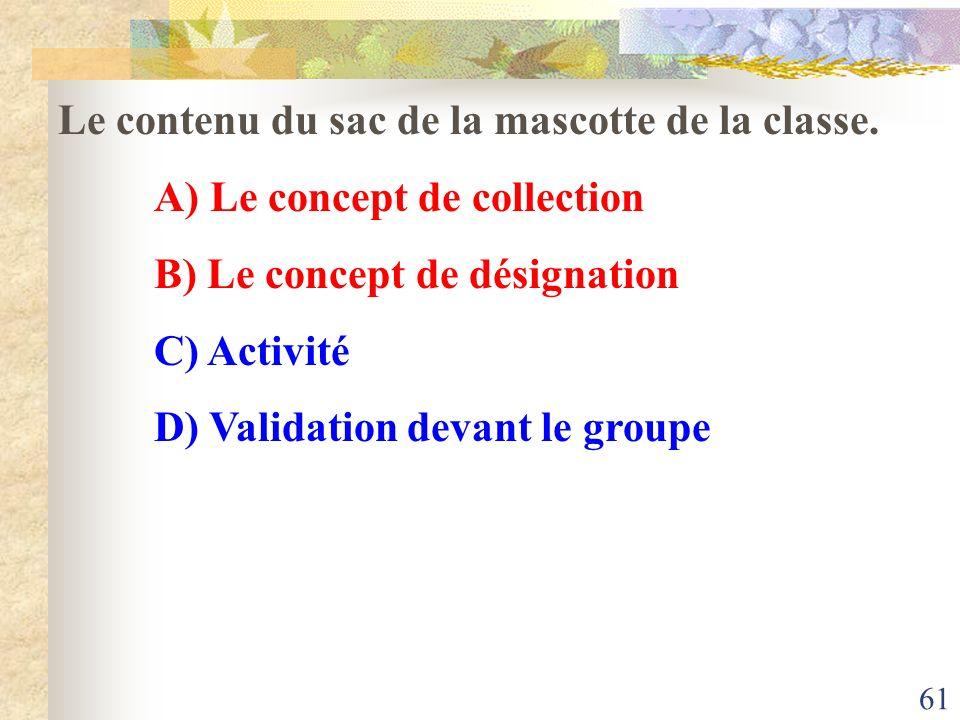 Le contenu du sac de la mascotte de la classe.
