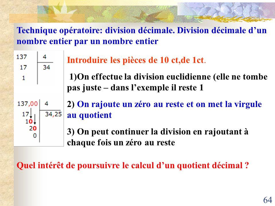 Technique opératoire: division décimale