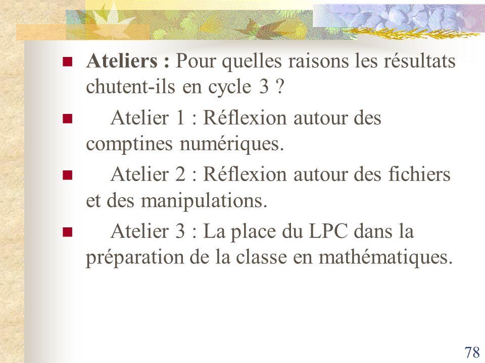 Ateliers : Pour quelles raisons les résultats chutent-ils en cycle 3