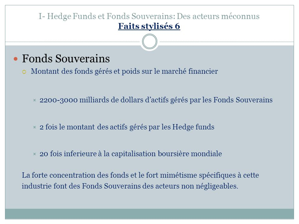 I- Hedge Funds et Fonds Souverains: Des acteurs méconnus Faits stylisés 6