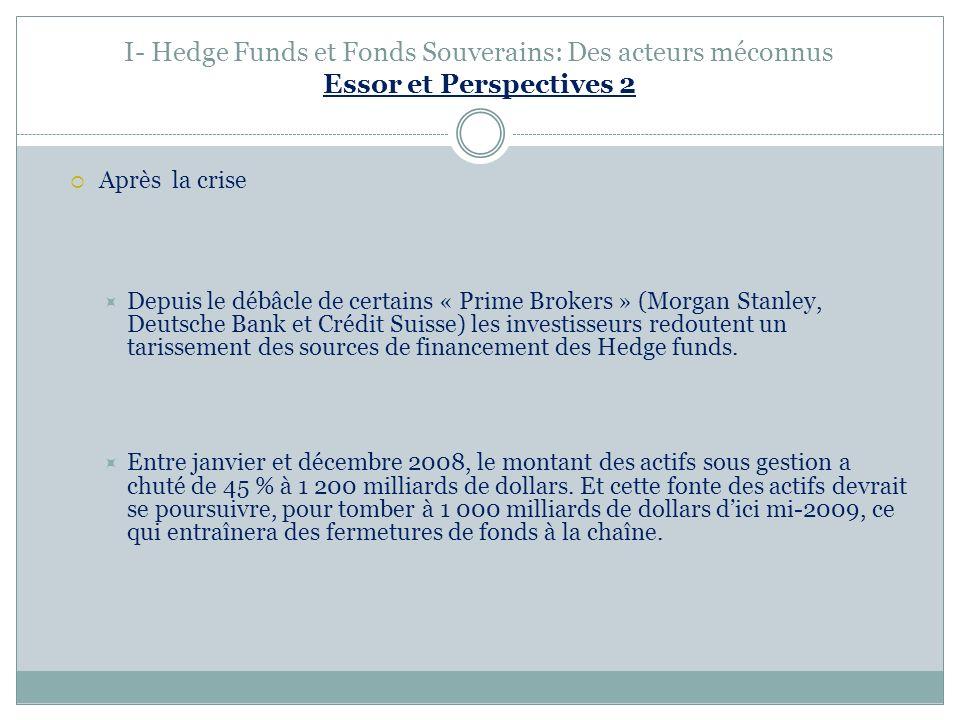 I- Hedge Funds et Fonds Souverains: Des acteurs méconnus Essor et Perspectives 2