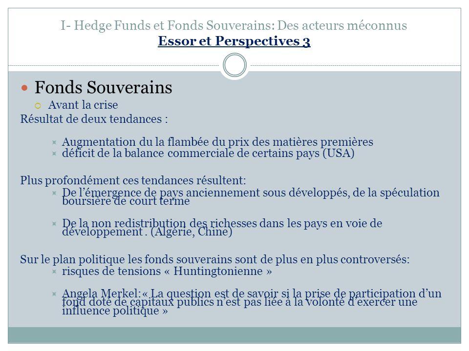 I- Hedge Funds et Fonds Souverains: Des acteurs méconnus Essor et Perspectives 3