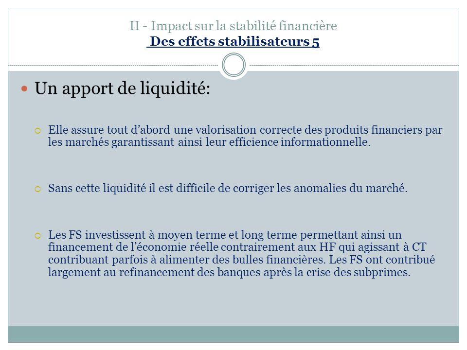 II - Impact sur la stabilité financière Des effets stabilisateurs 5
