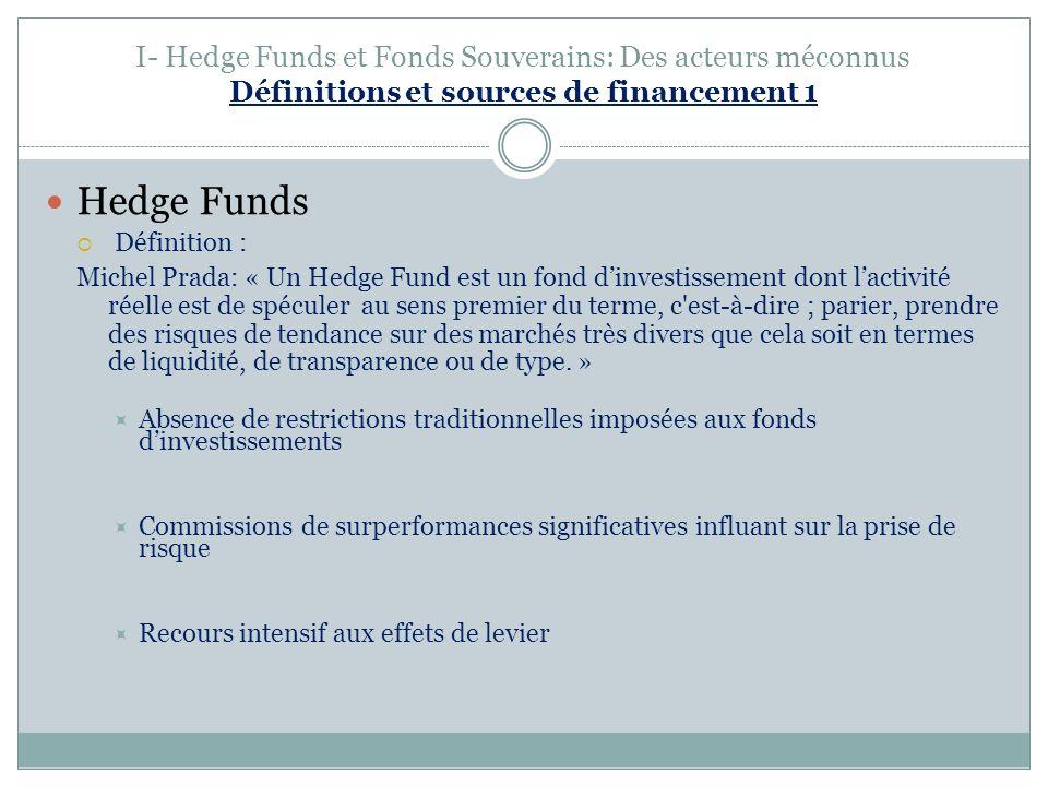 I- Hedge Funds et Fonds Souverains: Des acteurs méconnus Définitions et sources de financement 1