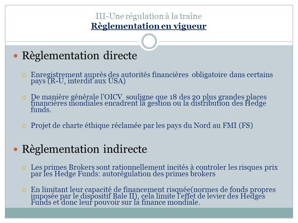 III-Une régulation à la traîne Règlementation en vigueur