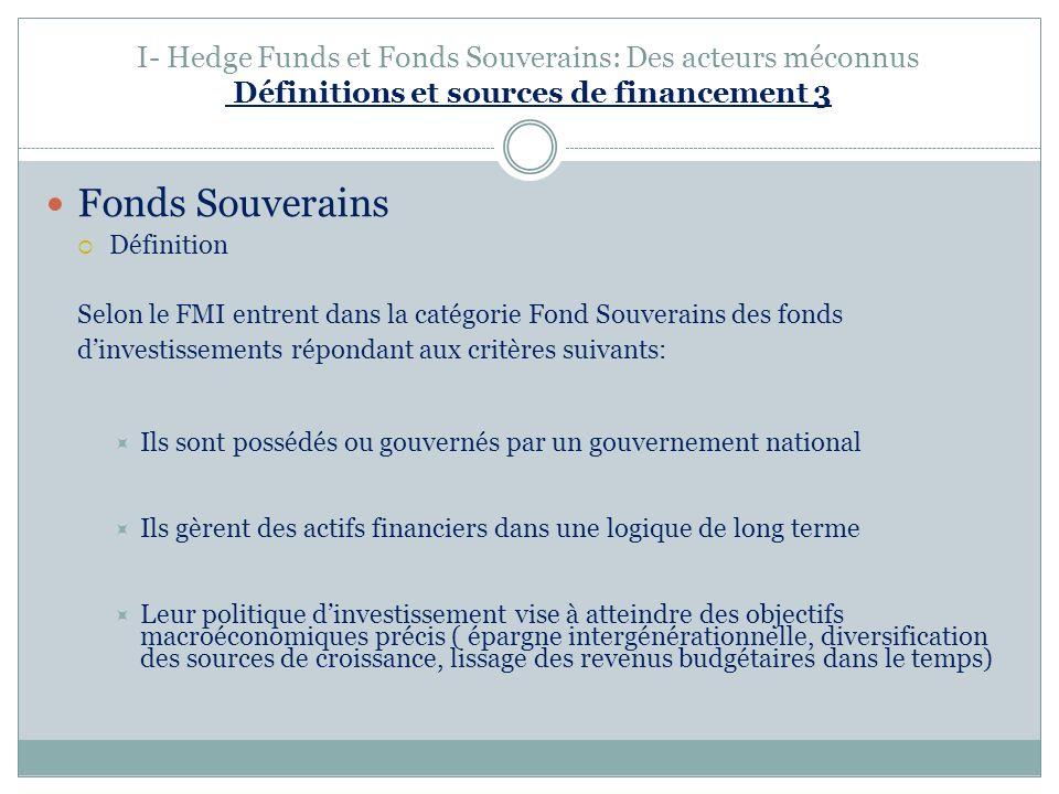 I- Hedge Funds et Fonds Souverains: Des acteurs méconnus Définitions et sources de financement 3