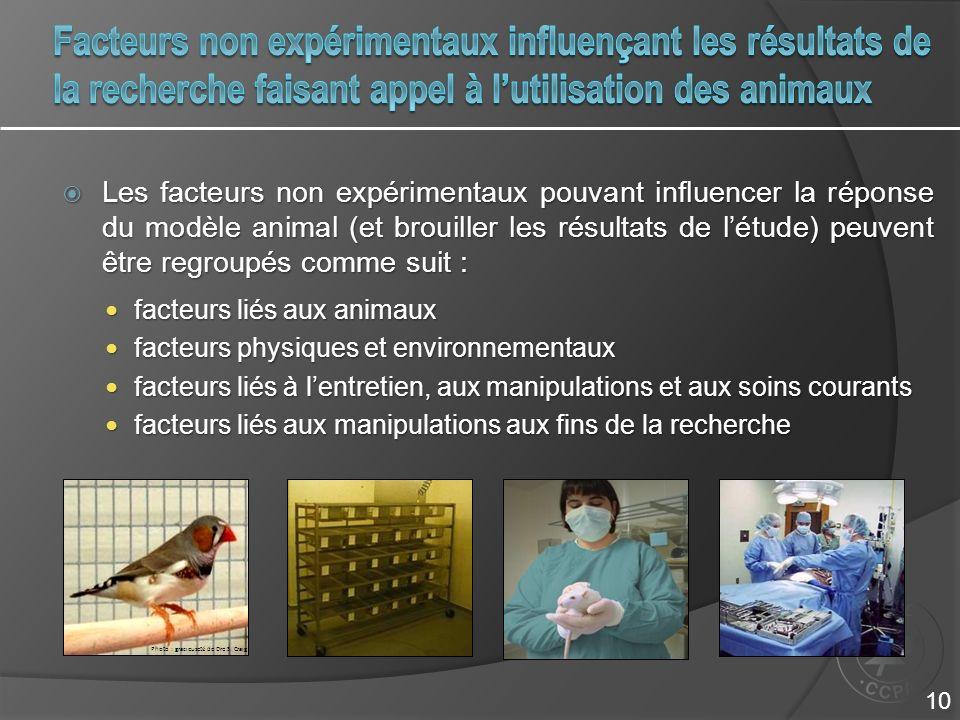 Facteurs non expérimentaux influençant les résultats de la recherche faisant appel à l'utilisation des animaux