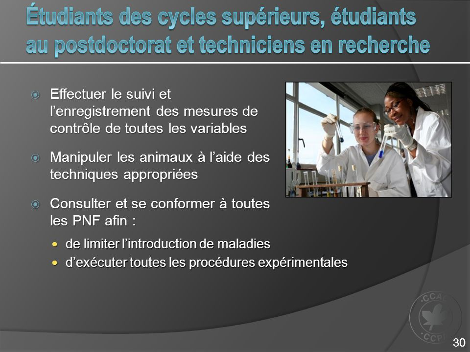 Étudiants des cycles supérieurs, étudiants au postdoctorat et techniciens en recherche