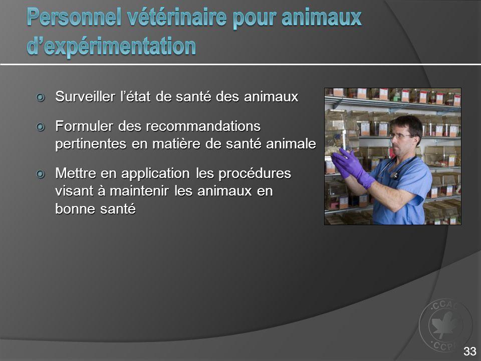 Personnel vétérinaire pour animaux d'expérimentation