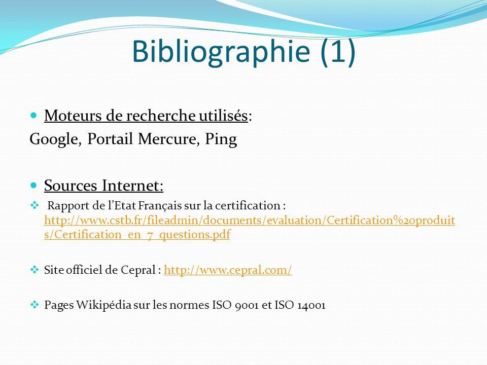 Bibliographie (1) Moteurs de recherche utilisés: