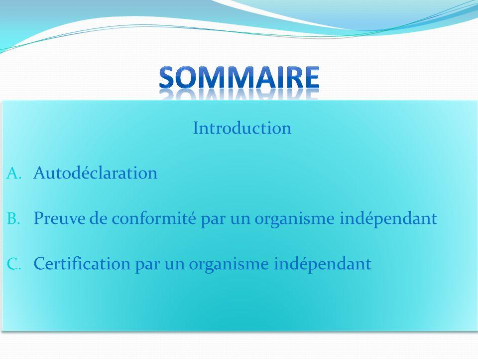 Sommaire Introduction Autodéclaration