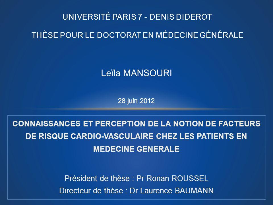 UNIVERSITÉ PARIS 7 - DENIS DIDEROT THÈSE POUR LE DOCTORAT EN MÉDECINE GÉNÉRALE