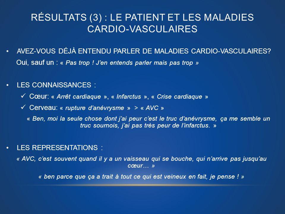 Résultats (3) : LE PATIENT ET LES Maladies cardio-vasculaires