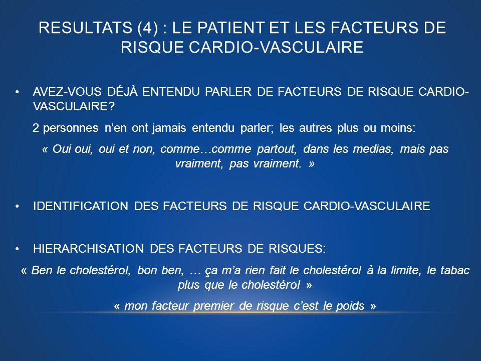 RESULTATS (4) : LE PATIENT ET LES FACTEURS de risque cardio-vasculaire