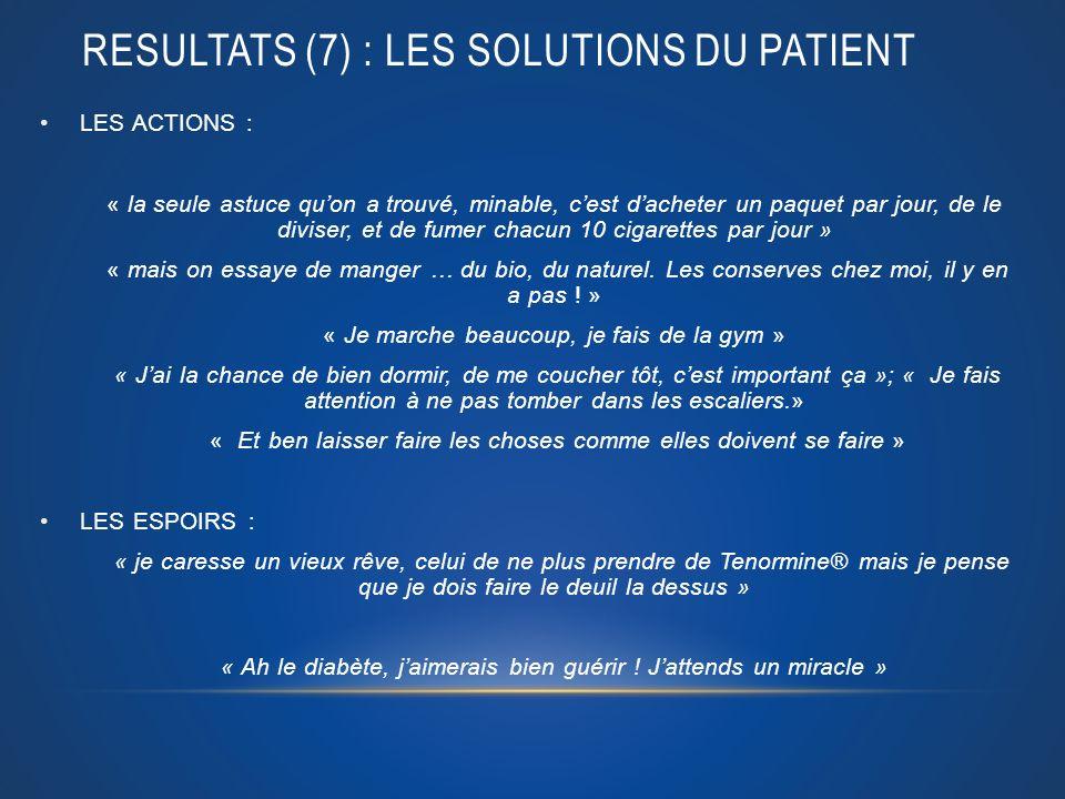 RESULTATS (7) : LES solutions du patient