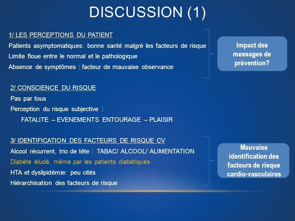 DISCUSSION (1) Impact des messages de prévention