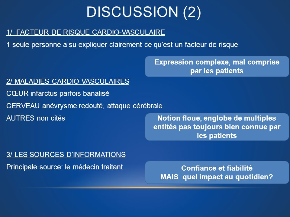 Discussion (2) Expression complexe, mal comprise par les patients