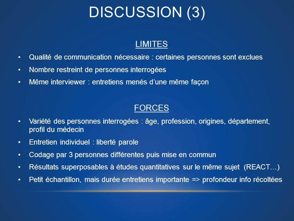 DISCUSSION (3) LIMITES FORCES