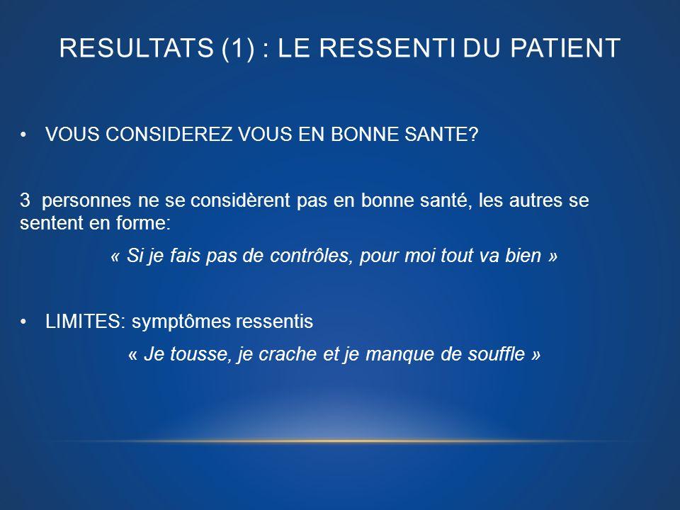 RESULTATS (1) : LE RESSENTI DU PATIENT