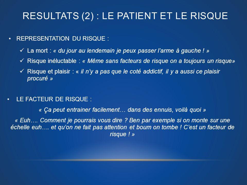 RESULTATS (2) : Le patient et le risque