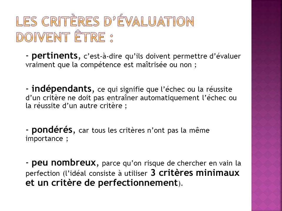 Les critères d'évaluation doivent être :
