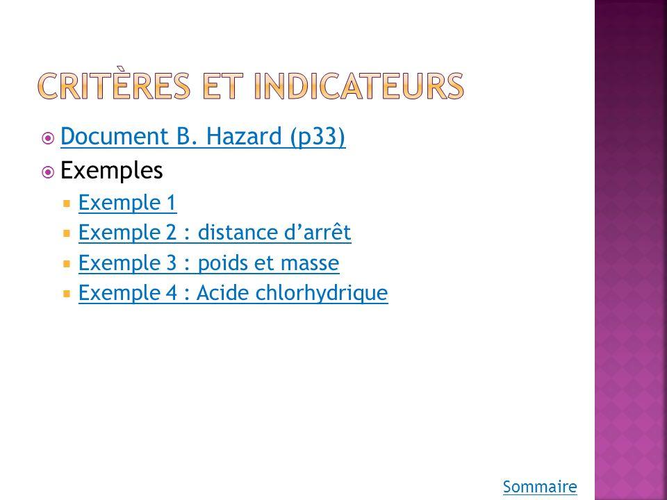 Critères et indicateurs