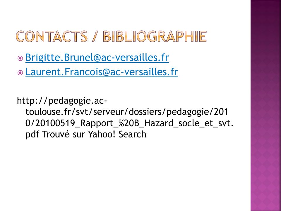 Contacts / Bibliographie