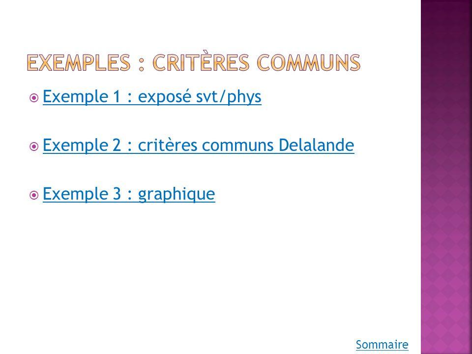 Exemples : critères communs