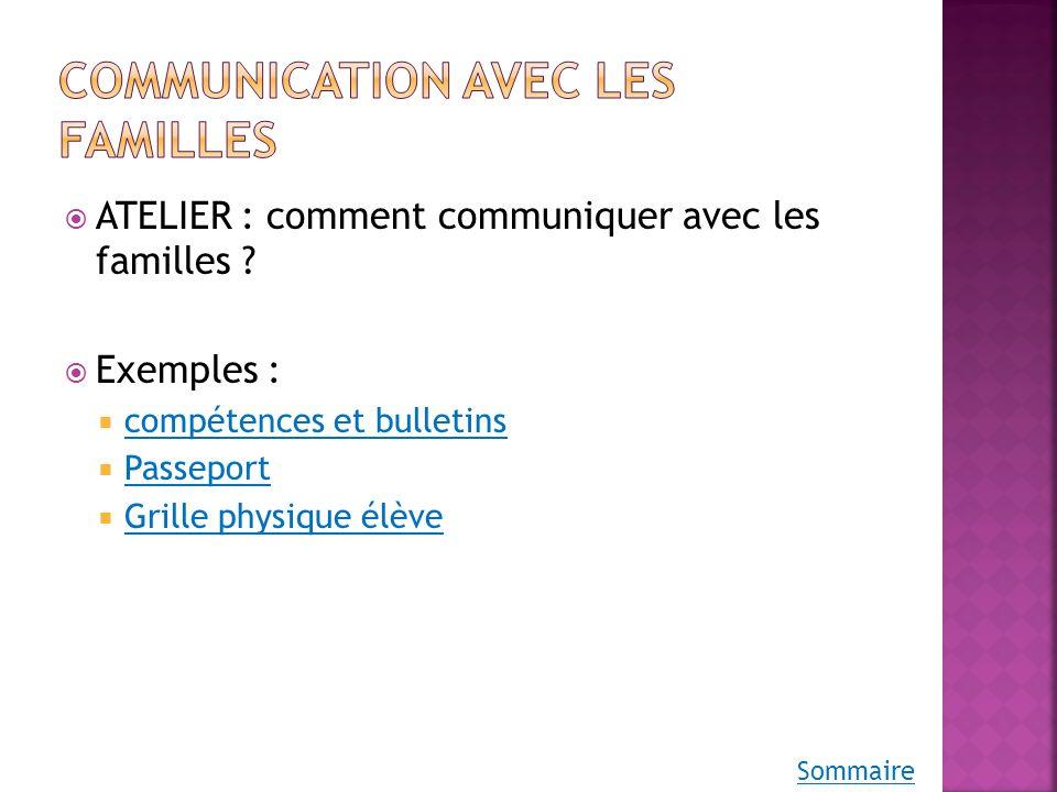 Communication avec les familles