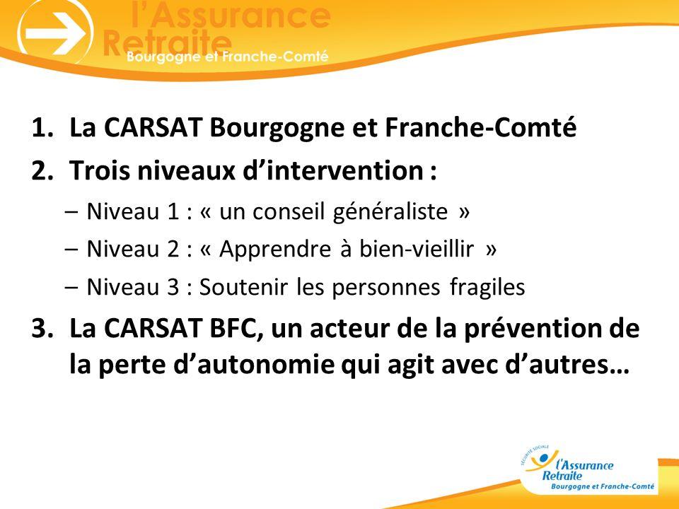 La CARSAT Bourgogne et Franche-Comté Trois niveaux d'intervention :