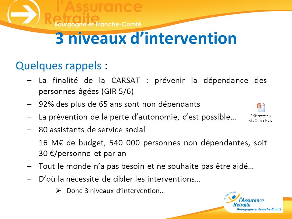 3 niveaux d'intervention