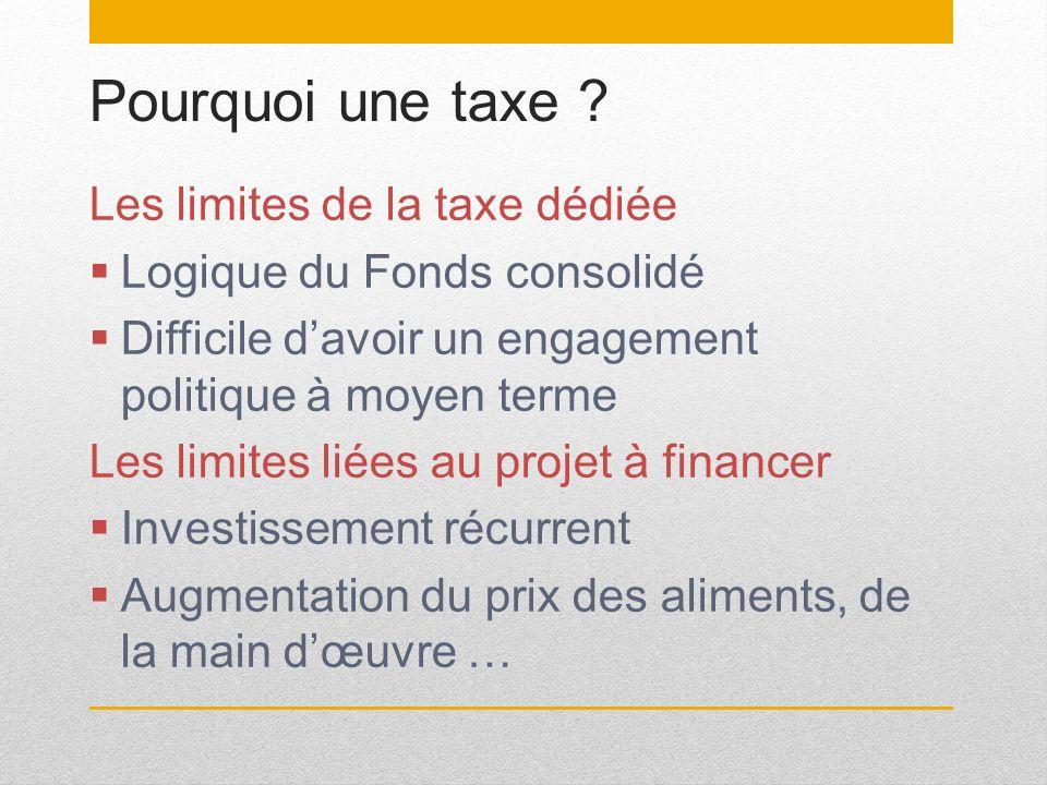 Pourquoi une taxe Les limites de la taxe dédiée