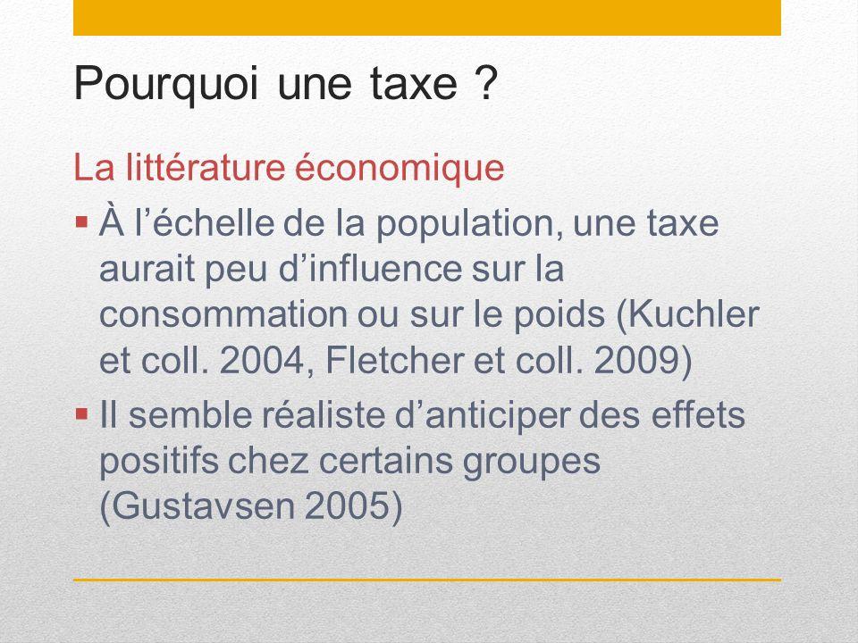 Pourquoi une taxe La littérature économique