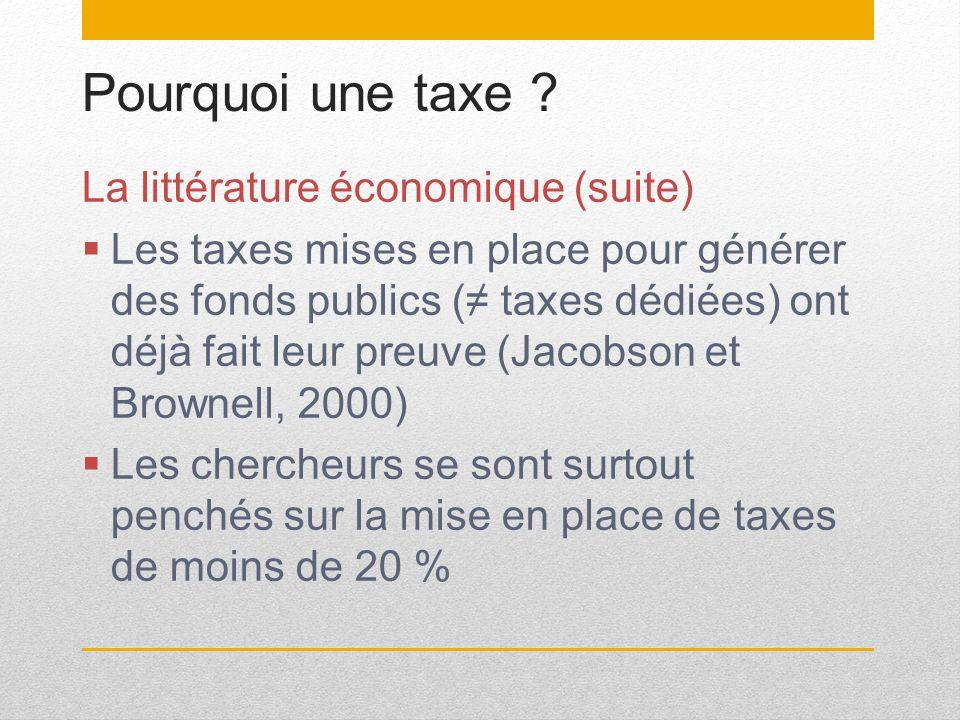 Pourquoi une taxe La littérature économique (suite)