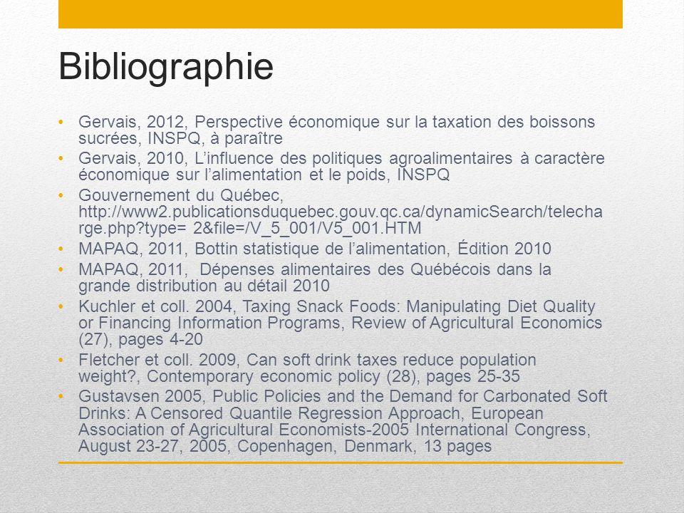 Bibliographie Gervais, 2012, Perspective économique sur la taxation des boissons sucrées, INSPQ, à paraître.