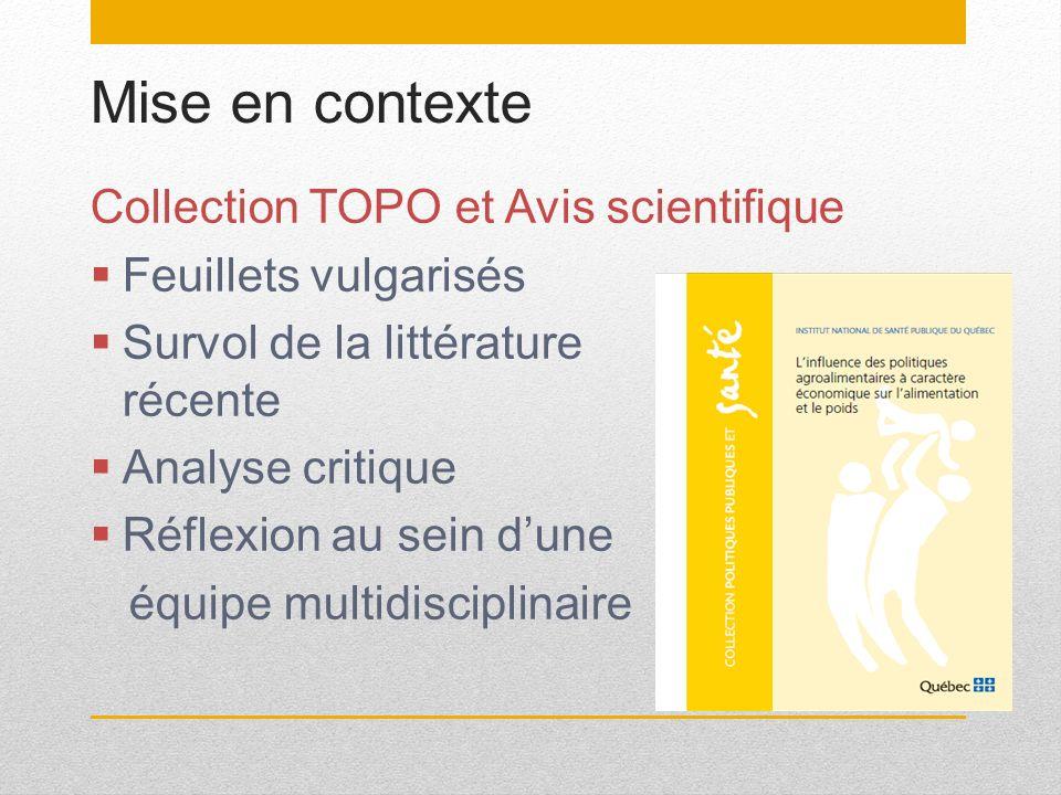 Mise en contexte Collection TOPO et Avis scientifique