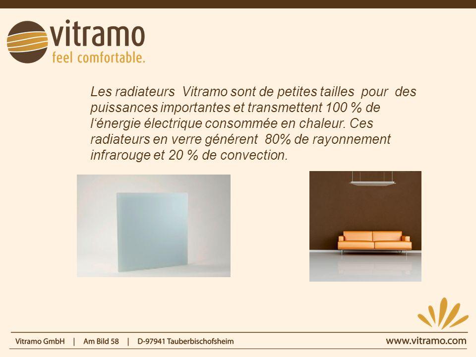 Les radiateurs Vitramo sont de petites tailles pour des puissances importantes et transmettent 100 % de l'énergie électrique consommée en chaleur.