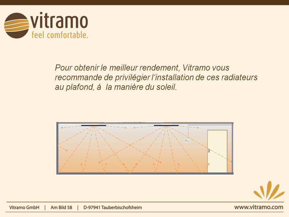 Pour obtenir le meilleur rendement, Vitramo vous recommande de privilégier l'installation de ces radiateurs au plafond, à la manière du soleil.