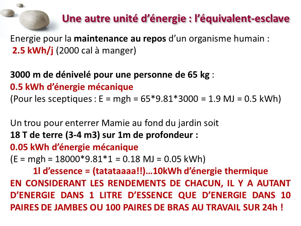 1l d'essence = (tatataaaa!!)…10kWh d'énergie thermique