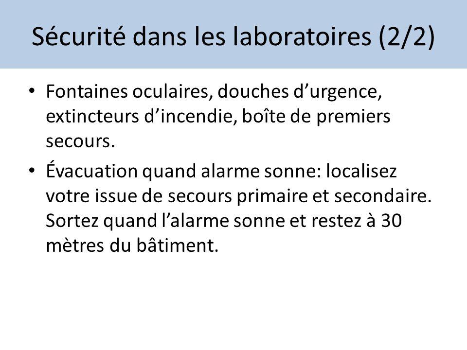 Sécurité dans les laboratoires (2/2)