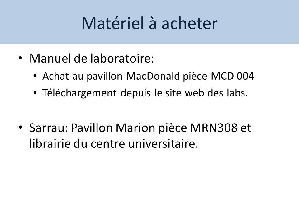 Matériel à acheter Manuel de laboratoire: