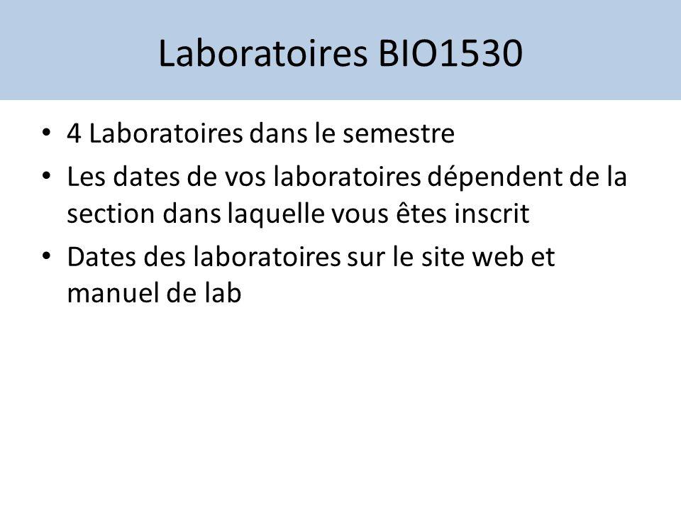 Laboratoires BIO1530 4 Laboratoires dans le semestre