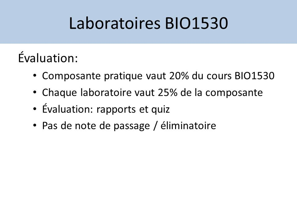 Laboratoires BIO1530 Évaluation: