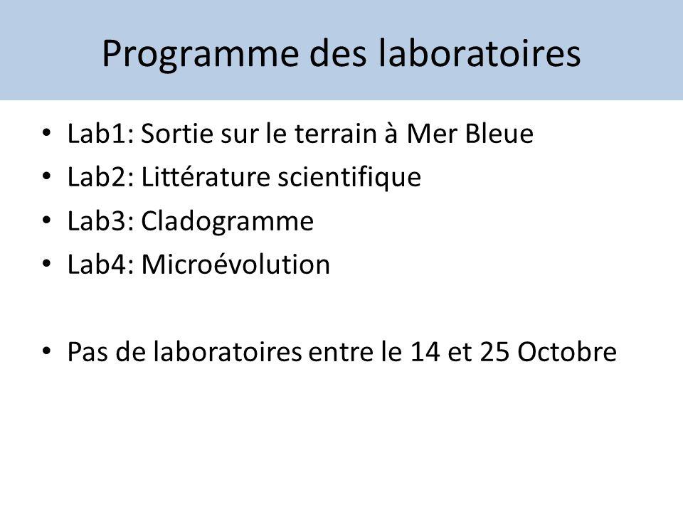 Programme des laboratoires